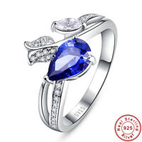2CT Pear Cut Tanzanite Water-drop 100% 925 Sterling Silver Ring Size L½ N½ P½ R½