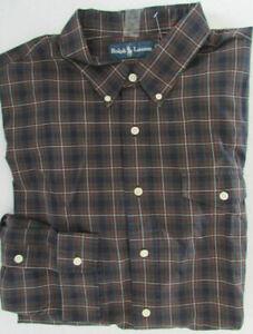 NWT Ralph Lauren Casual Button-Down Shirt Plaid w/ Chest Pocket Size M