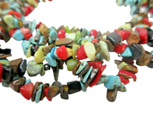 Colorful Gemstone Chip Multi Strand NECKLACE Turquoise Coral Tigers Eye
