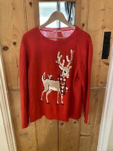 Tu Red Reindeer Sequin Christmas Jumper Knit Size 20