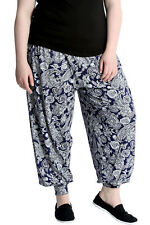 New Ladies Paisley Print Plus Size Womens Harem Ali Baba Trouser Cuffed Nouvelle
