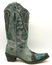 Corral Vintage Gray Leather Teal Floral Butterfly Cowboy Boots Women's 9.5 M