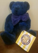 """Vermont Teddy Bear 17"""" Dark Blue Bear Plush Without You Jointed MINT W Booklet"""