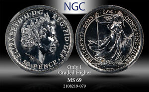 2013 GREAT BRITAIN 50 PENCE BRITANNIA NGC MS 69 SILVER #A ONLY 1 GRADED HIGHER