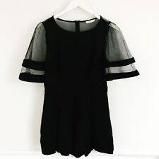 San Joy Mesh Romper Black Size Small Statement Sleeves Party Club Wear