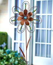 "Flower Wind Spinner Beaded Blue Green Outdoor Garden Stake Yard Art 41""H NEW"