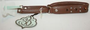 Bitch and Stud Chic Italian Leather Dog Walking Collar w/Swarovski Crystal Size3