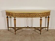 COLBY Furniture Chippy Paint 1930s Faux Marble French Demilune Console Table