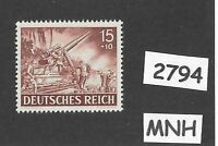 MNH stamp / 1943 /  PF15 + PF10 / Military Wehrmacht Artillery  / WWII Germany