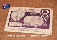 vintage caravan AUSTRALIAN *DON* tin SIGN ART retro bondwood advert 1950s NEW!!