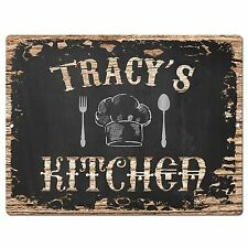 PP1939 TRACY'S KITCHEN Plate Chic Sign Home Room Kitchen Decor Birthday Gift