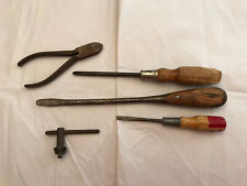 Lot of 5 Assorted Mixed Wooden Vintage Hand Tools Screwdrivers + Pliers - Rusted