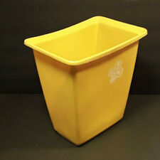 Vintage Rubbermaid Waste Paper Trash Can Mustard Yellow White Daisies 10