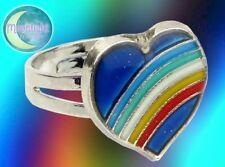 New Mood Ring Rainbow Heart Emotion Feeling Sizable Adjustable Ring