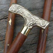 """Designer Brass Handle Head Vintage Style Brown Wooden Walking Stick Cane 36"""""""