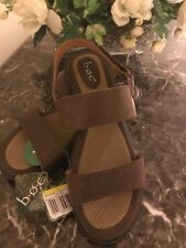 B.O.C. Born Concept Berries DK Brown Genuine Leather Sandals Ankle Strap Size 11