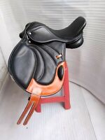 16''English black leather all purpose  close contact saddle full paeded