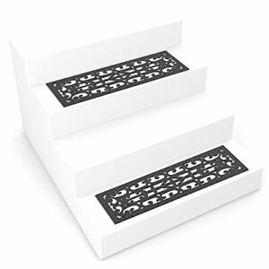 Pure Garden Non-Slip Stair Mats with Traction Control Grip- Heavy Duty Rubber...