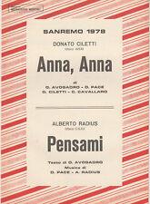 Spartito SANREMO 1978 - ANNA ANNA / PENSAMI Ciletti - Radius - ed.  messaggerie