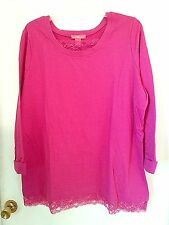 PLUS size 3X, 1X or 22W-24W  pull over tunic sweatshirt top Pink with LACE trim
