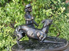 Bronze Sculpture Jules Moigniez boy & dog sculpture bust figurine antique art