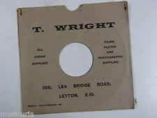 "78 rpm 10"" inch card gramophone record sleeve , T WRIGHT , LEYTON /rusty staples"