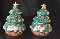 Vintage Salt and Pepper Shakers Hand Painted In Italy Gold and Green Color