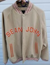 VINTAGE SEAN JOHN WOOL COLLEGE JACKET BAD BOY PUFFY CREAM ORANGE JORDAN EUC