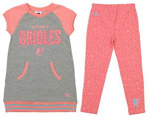 Majestic MLB Little Girls Baltimore Orioles Cheer Loud Legging Set, Pink