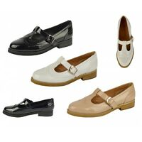 S503 - Ladies Girls Cut Out Strap Brogue Flat Office School Shoes - UK 3 - 8