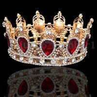 Vintage 6cm High Sparkling Red Crystal Gold King Crown Wedding Prom Pageant