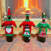 Christmas Santa Elf Red Wine Bottle Cover Set Bag Party Xmas Dinner Table Decor
