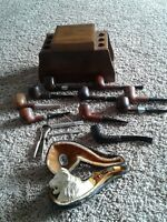 Vintage  Pipes Lot Of  11! Dr Grabow, Medico, MEERSCHAUM, & holder and tools