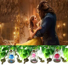 Beauty And Beast Necklace Rose Mirror Disney Enchanted Jewelry Pendant Charm