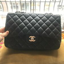 Chanel Classic Black & Blue Perforated Lambskin Leather Single Flap Shoulder Bag