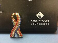 Breast Cancer Awareness Ribbon + USA Flag Patriotic Swarovski Crystal Pin Brooch