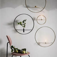 3D Geometric Wall Mounted Candle Holder Metal Tea Light Home Decor Candlestick L