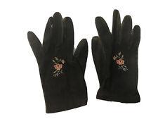 Vtg Women's Gants Majoux Black Floral Embroidered Gloves Paris France Size 7