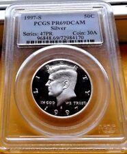 1997-S PCGS PR69 DCAM DEEP CAMEO SILVER KENNEDY HALF DOLLAR .50C