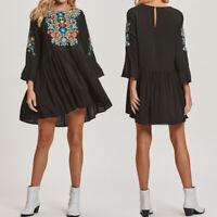 Women Long Sleeve Summer Beach Floral Print Pleated Dress Loose Mini Shirt Dress