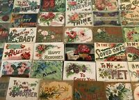 Big Estate Lot of 35 Family Greetings,Large Letter Words Vintage Postcards--s307