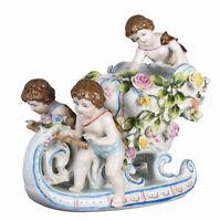 Porzellanfigur Schlitten Engelschlitten Dekofigur Antik Barockfgur Engel Statue