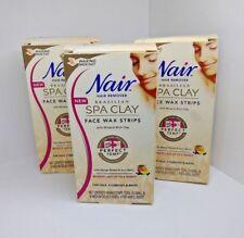 3X Nair Brazilian Spa Clay Wax Strips For Face & Bikini 40 Wax Strips Each Box