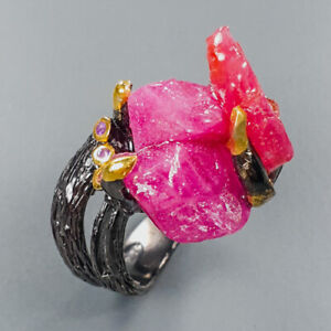 Special Rough gemstone Ruby Ring Silver 925 Sterling  Size 7.75 /R150917