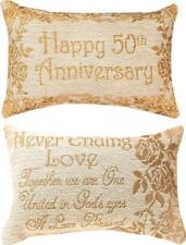 """HAPPY 50th ANNIVERSARY Never Ending Love Pillow 12.5"""" x 8.5"""", by Manual Weavers"""