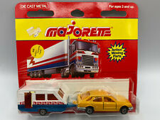 Majorette Tan Sedan Car & White Camping Trailer Camper Diecast On Card New