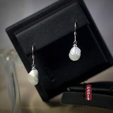 Boucles d`Oreilles Perle Nacre de Culture Baroque Petit Goutte Blacn Argent 925