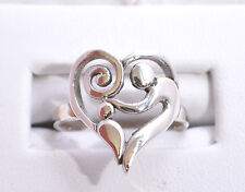 Mother & Child Heart Shape  Ring Genuine Sterling Silver.925 Stamped Size 6