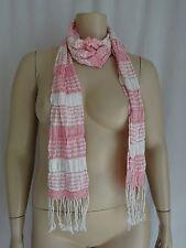 V12  Sacred Threads White Pink Beautiful Sample Scarf  70 X 8 1/2   76 w/Fringe