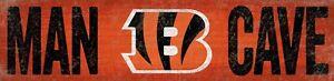 "Cincinnati Bengals MAN CAVE Football Wood Sign - NEW 24"" x 6""  Decoration Gift"